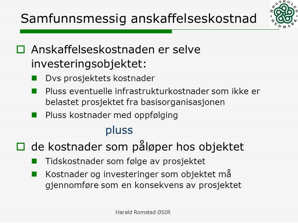 Harald Romstad ØSIR Samfunnsmessig anskaffelseskostnad  Anskaffelseskostnaden er selve investeringsobjektet:  Dvs prosjektets kostnader  Pluss even