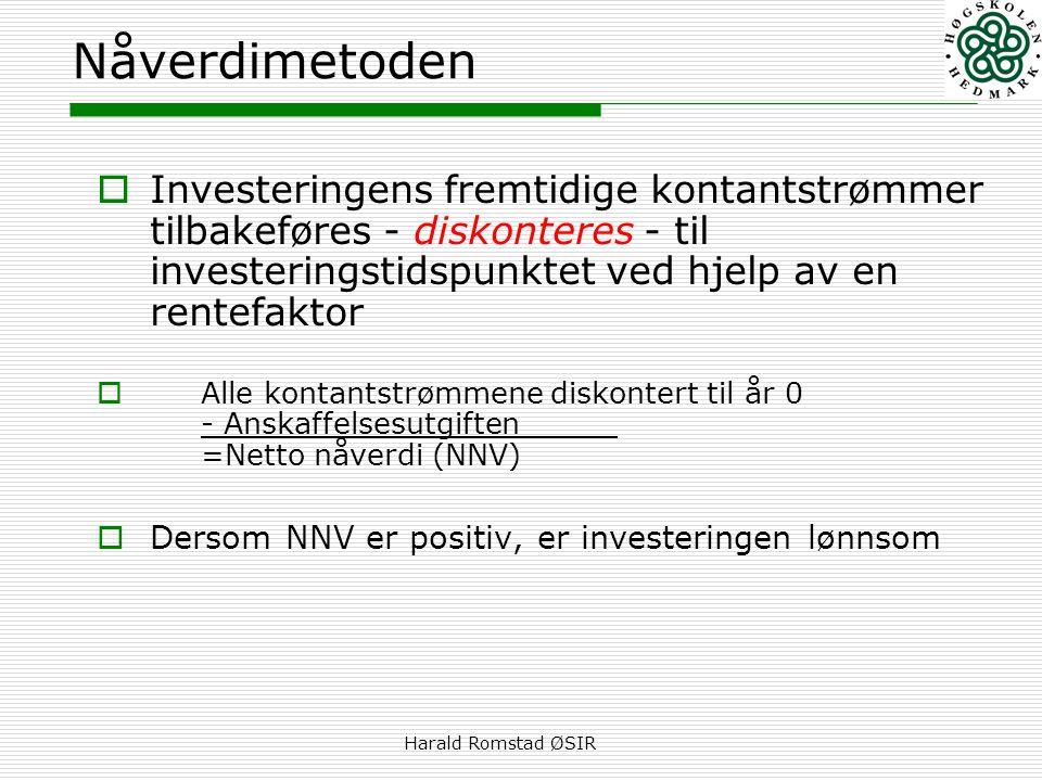 Harald Romstad ØSIR Nåverdimetoden  Investeringens fremtidige kontantstrømmer tilbakeføres - diskonteres - til investeringstidspunktet ved hjelp av en rentefaktor  Alle kontantstrømmene diskontert til år 0 - Anskaffelsesutgiften =Netto nåverdi (NNV)  Dersom NNV er positiv, er investeringen lønnsom