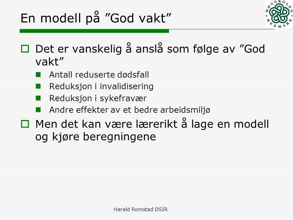 """Harald Romstad ØSIR En modell på """"God vakt""""  Det er vanskelig å anslå som følge av """"God vakt""""  Antall reduserte dødsfall  Reduksjon i invalidiserin"""