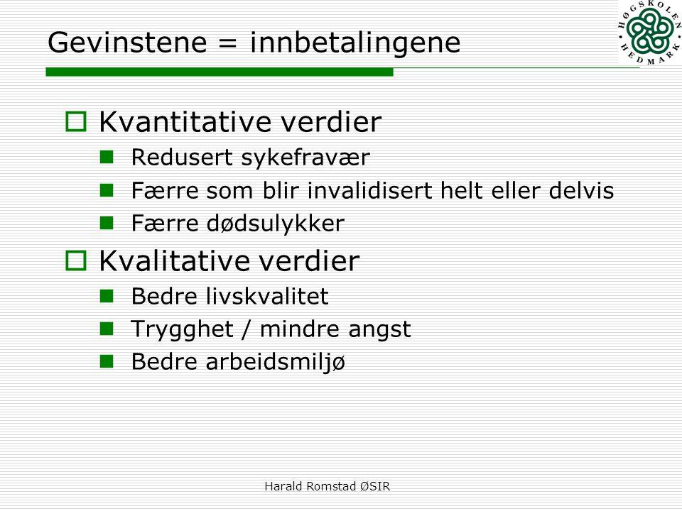 Harald Romstad ØSIR Gevinstene = innbetalingene  Kvantitative verdier  Redusert sykefravær  Færre som blir invalidisert helt eller delvis  Færre d