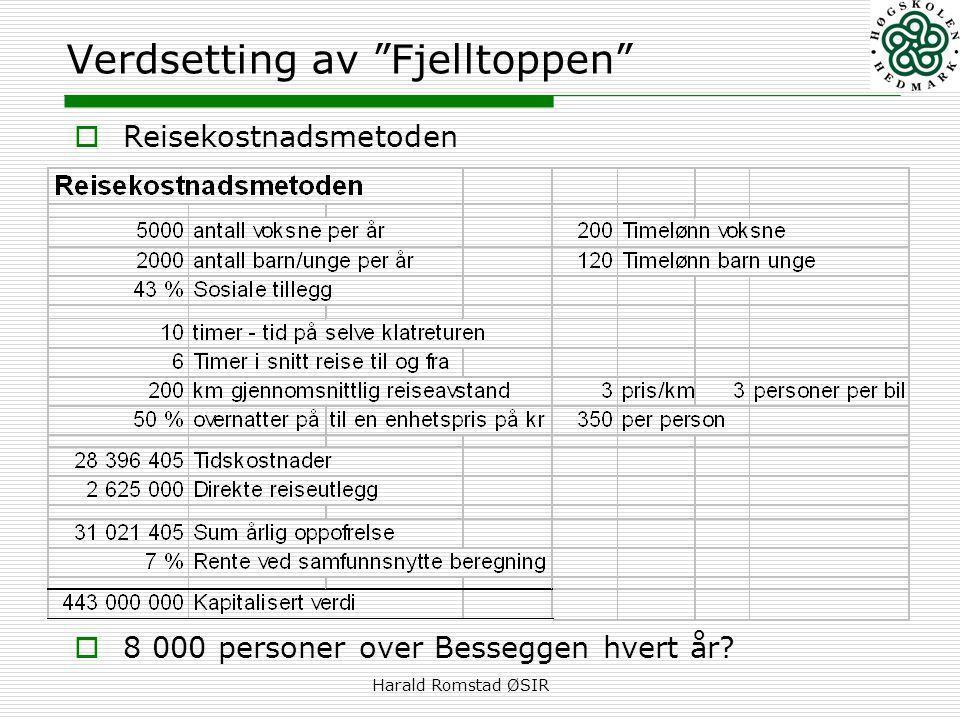 """Harald Romstad ØSIR Verdsetting av """"Fjelltoppen""""  Reisekostnadsmetoden  8 000 personer over Besseggen hvert år?"""
