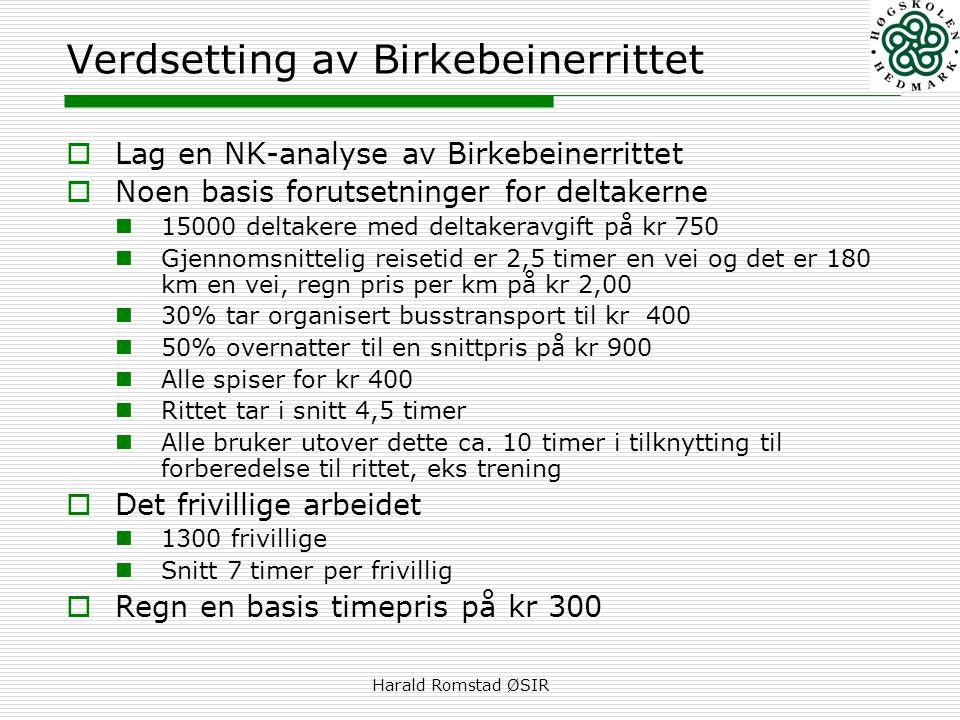 Harald Romstad ØSIR Verdsetting av Birkebeinerrittet  Lag en NK-analyse av Birkebeinerrittet  Noen basis forutsetninger for deltakerne  15000 delta