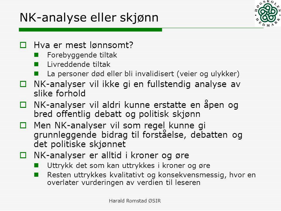 Harald Romstad ØSIR NK-analyse eller skjønn  Hva er mest lønnsomt?  Forebyggende tiltak  Livreddende tiltak  La personer død eller bli invalidiser