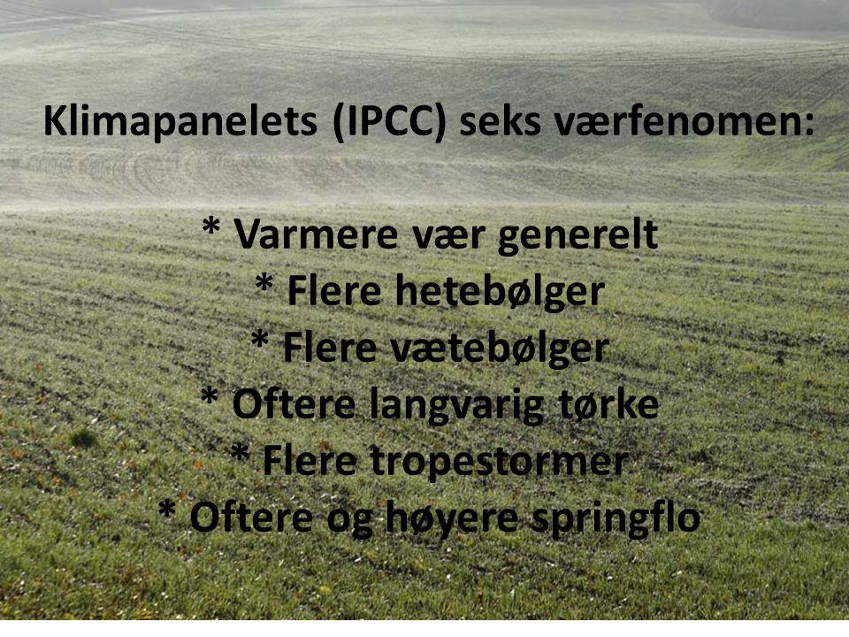 Klimapanelets (IPCC) seks værfenomen: * Varmere vær generelt * Flere hetebølger * Flere vætebølger * Oftere langvarig tørke * Flere tropestormer * Oftere og høyere springflo