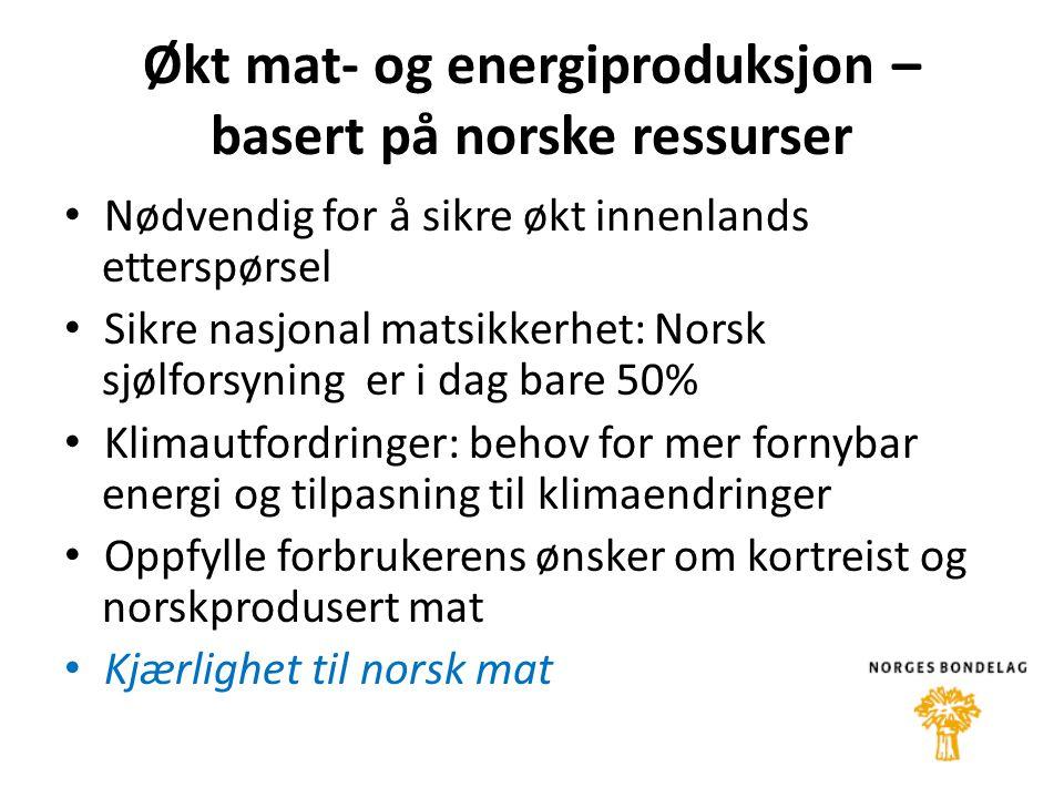 Økt mat- og energiproduksjon – basert på norske ressurser • Nødvendig for å sikre økt innenlands etterspørsel • Sikre nasjonal matsikkerhet: Norsk sjølforsyning er i dag bare 50% • Klimautfordringer: behov for mer fornybar energi og tilpasning til klimaendringer • Oppfylle forbrukerens ønsker om kortreist og norskprodusert mat • Kjærlighet til norsk mat
