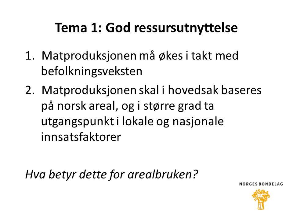 Tema 1: God ressursutnyttelse 1.Matproduksjonen må økes i takt med befolkningsveksten 2.Matproduksjonen skal i hovedsak baseres på norsk areal, og i større grad ta utgangspunkt i lokale og nasjonale innsatsfaktorer Hva betyr dette for arealbruken