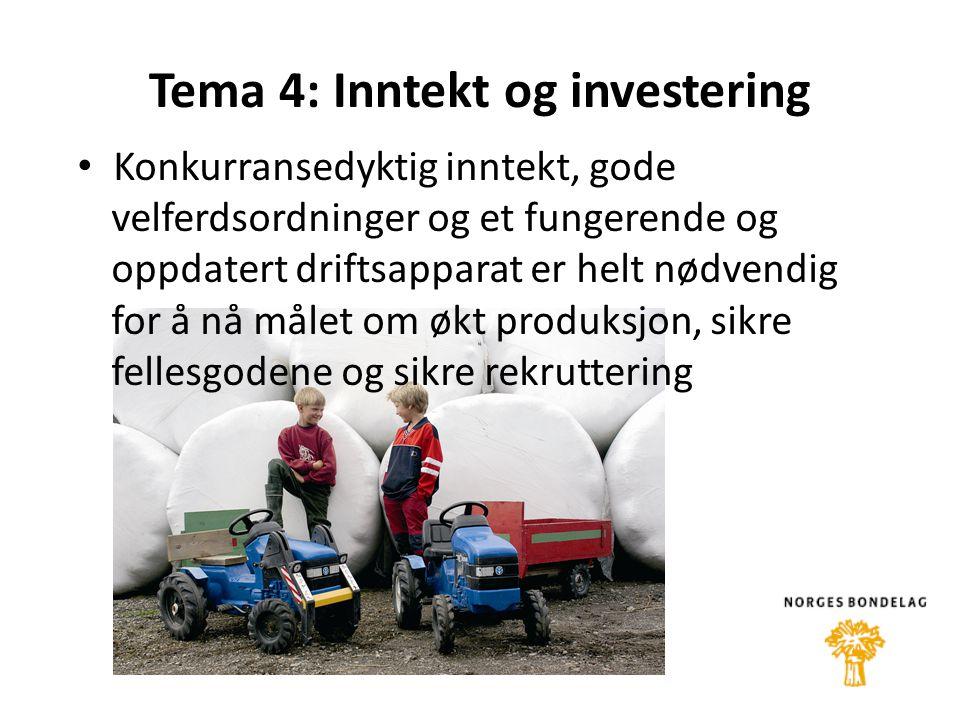 Tema 4: Inntekt og investering • Konkurransedyktig inntekt, gode velferdsordninger og et fungerende og oppdatert driftsapparat er helt nødvendig for å nå målet om økt produksjon, sikre fellesgodene og sikre rekruttering