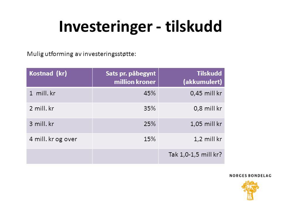 Investeringer - tilskudd Kostnad (kr)Sats pr. påbegynt million kroner Tilskudd (akkumulert) 1 mill.