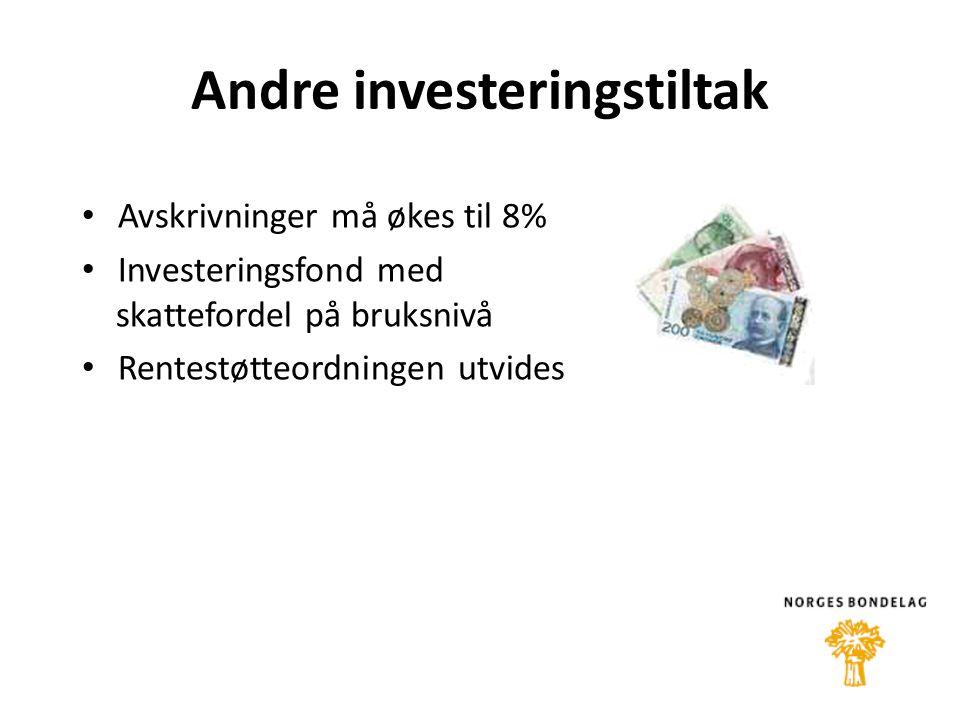Andre investeringstiltak • Avskrivninger må økes til 8% • Investeringsfond med skattefordel på bruksnivå • Rentestøtteordningen utvides