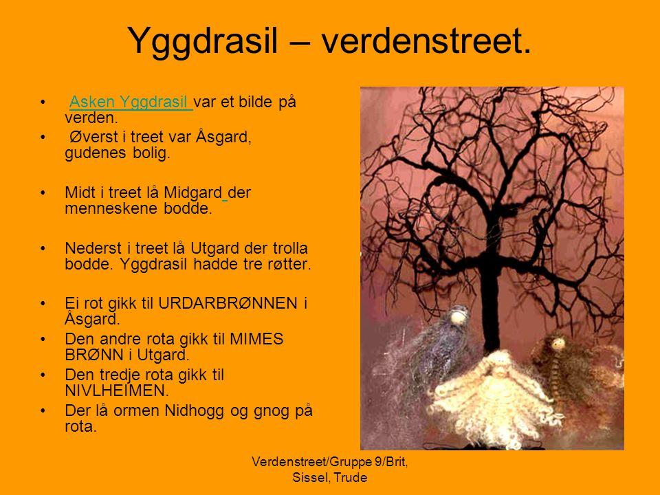 Verdenstreet/Gruppe 9/Brit, Sissel, Trude Yggdrasil – verdenstreet. • Asken Yggdrasil var et bilde på verden.Asken Yggdrasil • Øverst i treet var Åsga