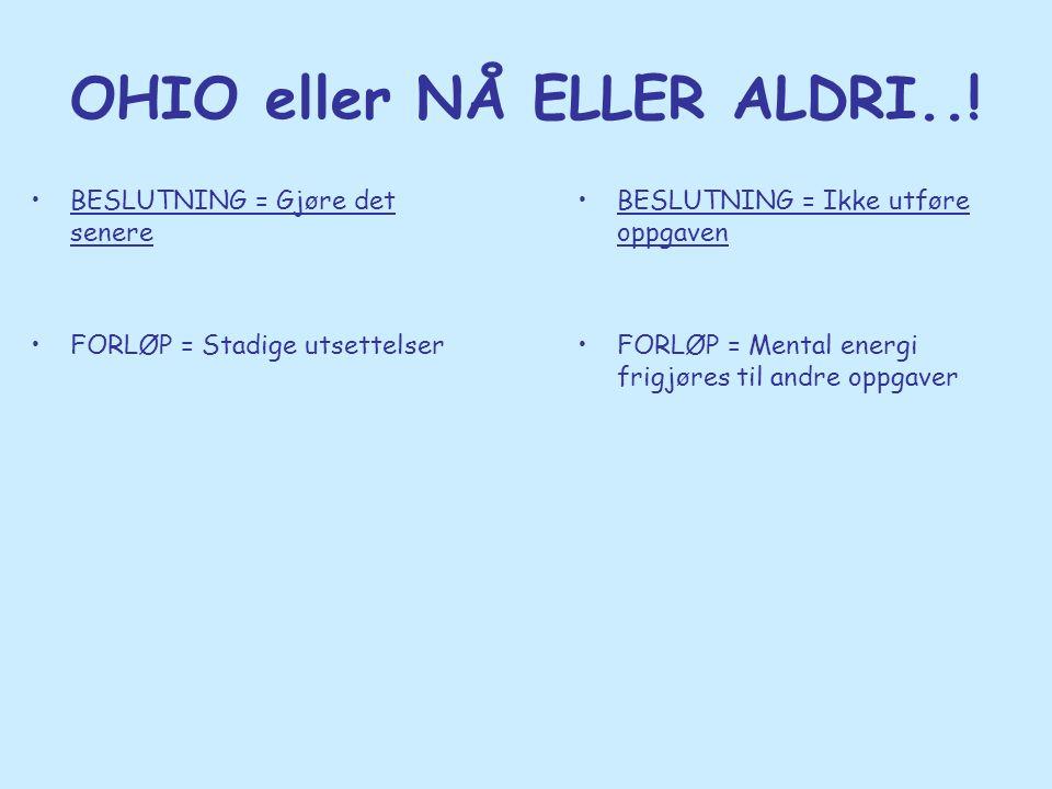 OHIO eller NÅ ELLER ALDRI..! •BESLUTNING = Gjøre det senere •FORLØP = Stadige utsettelser •BESLUTNING = Ikke utføre oppgaven •FORLØP = Mental energi f