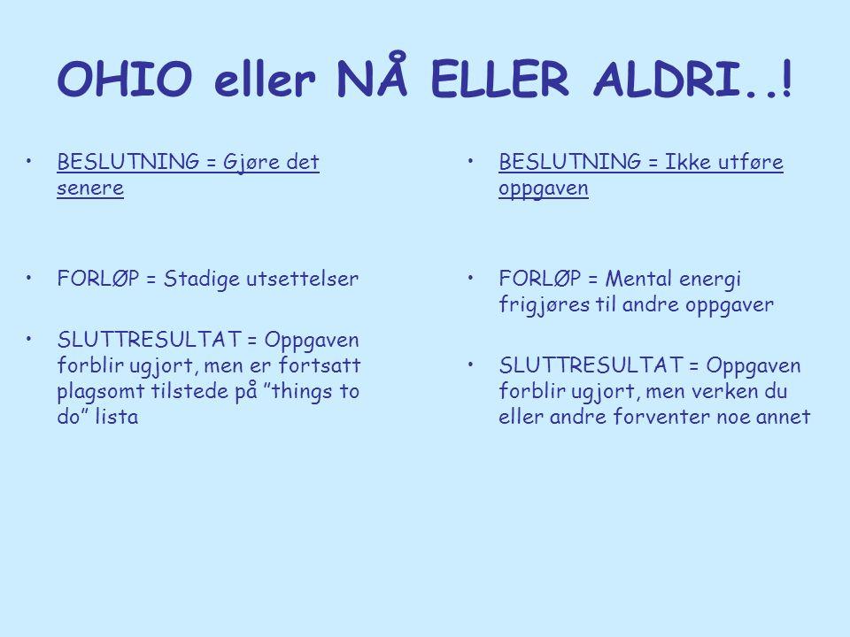 OHIO eller NÅ ELLER ALDRI..! •BESLUTNING = Gjøre det senere •FORLØP = Stadige utsettelser •SLUTTRESULTAT = Oppgaven forblir ugjort, men er fortsatt pl