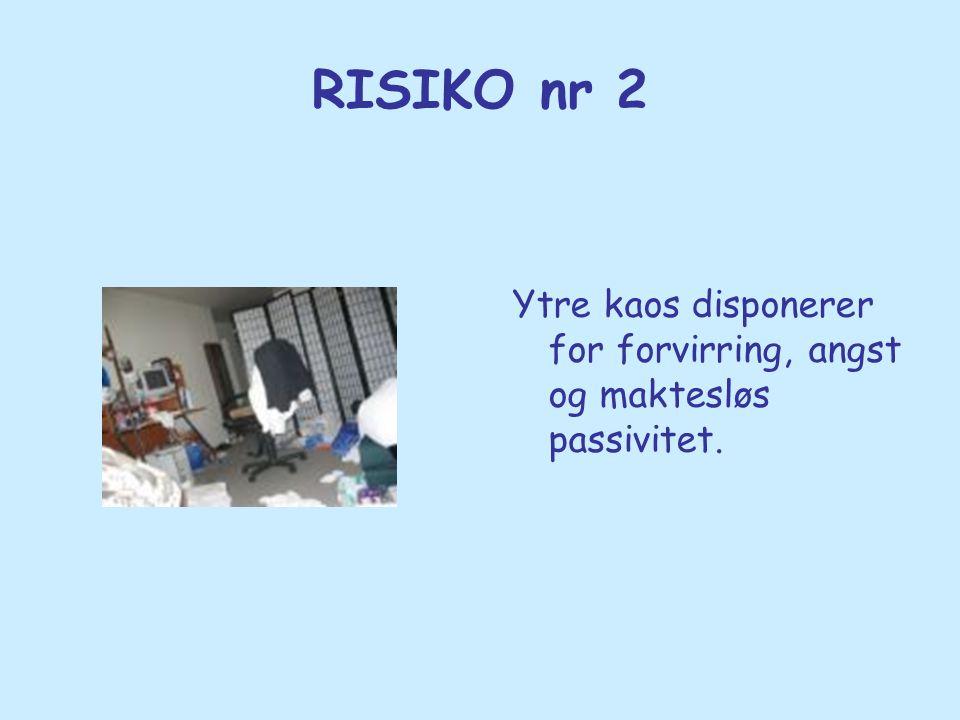 RISIKO nr 2 Ytre kaos disponerer for forvirring, angst og maktesløs passivitet.