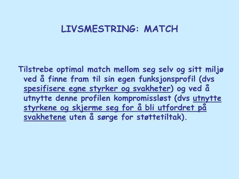 LIVSMESTRING: MATCH Tilstrebe optimal match mellom seg selv og sitt miljø ved å finne fram til sin egen funksjonsprofil (dvs spesifisere egne styrker