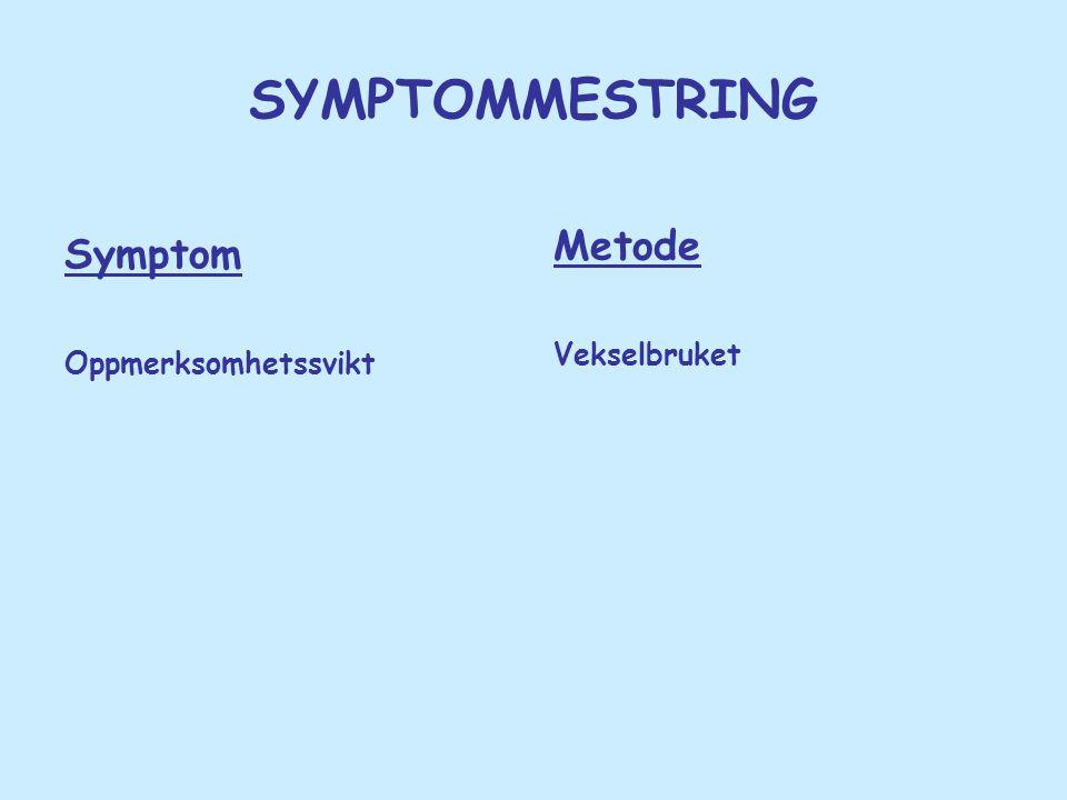 SYMPTOMMESTRING Symptom Oppmerksomhetssvikt Metode Vekselbruket