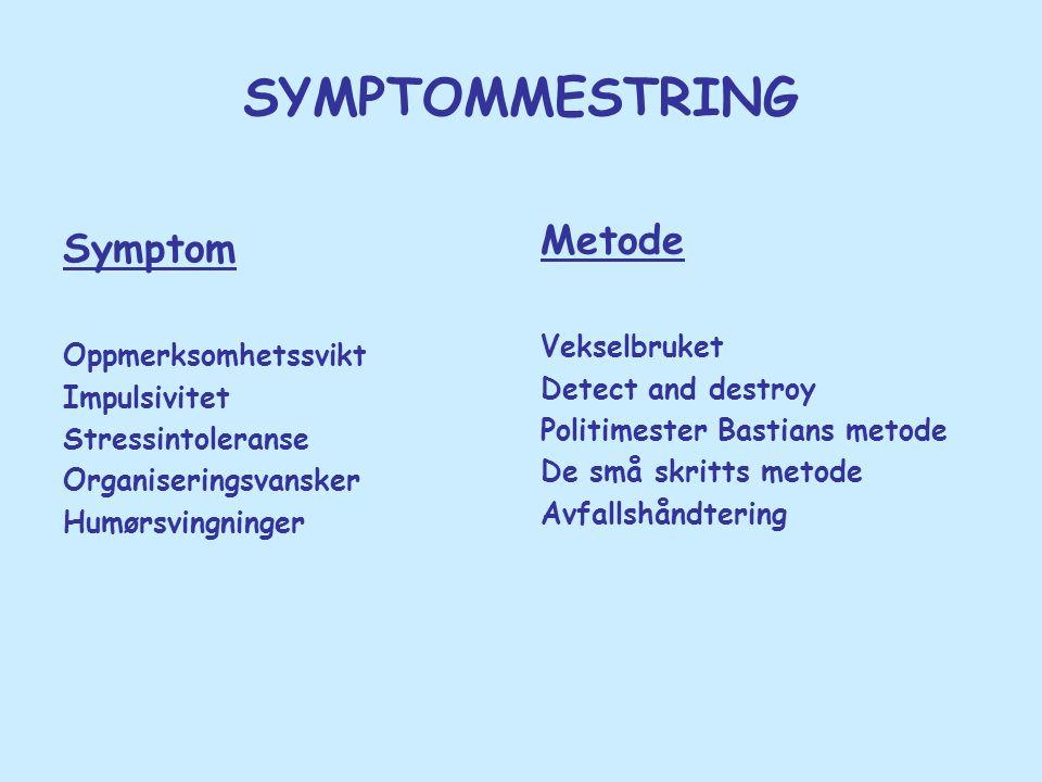 SYMPTOMMESTRING Symptom Oppmerksomhetssvikt Impulsivitet Stressintoleranse Organiseringsvansker Humørsvingninger Metode Vekselbruket Detect and destro