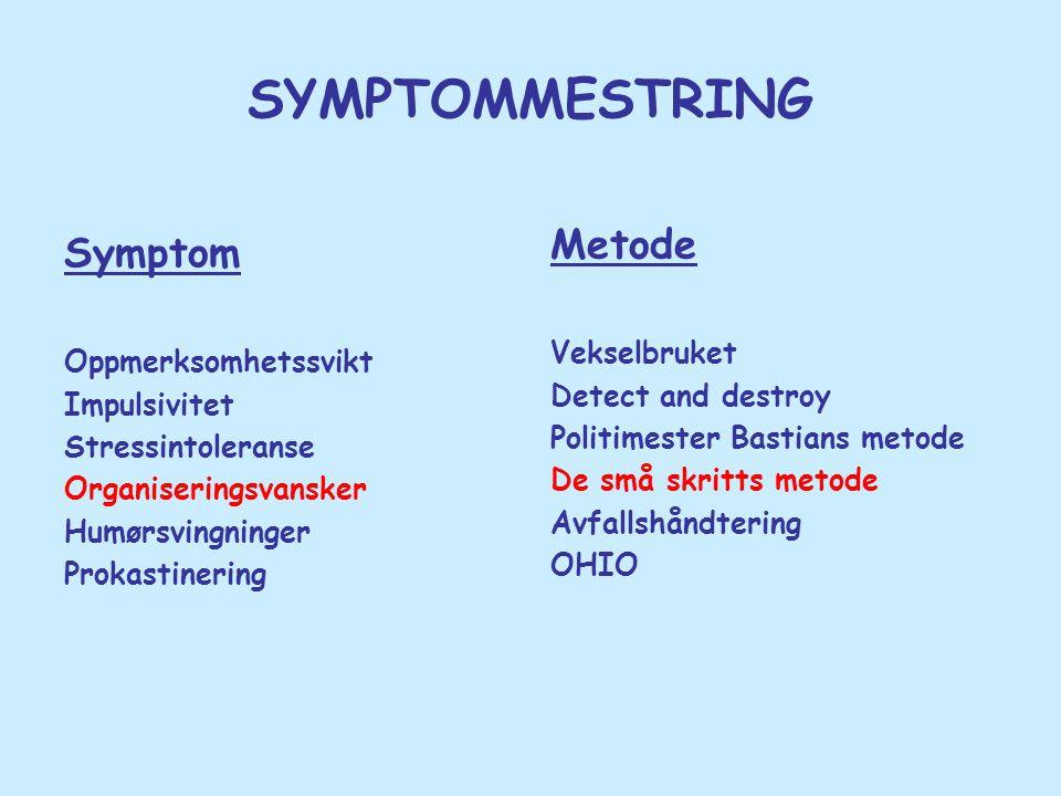 SYMPTOMMESTRING Symptom Oppmerksomhetssvikt Impulsivitet Stressintoleranse Organiseringsvansker Humørsvingninger Prokastinering Metode Vekselbruket De