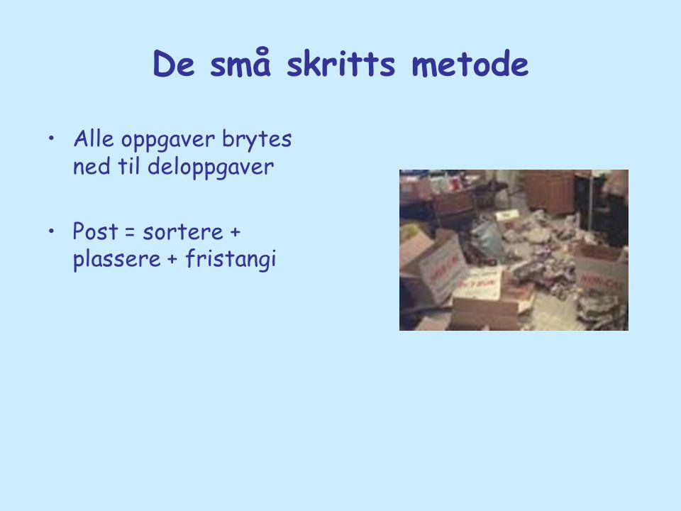 De små skritts metode •Alle oppgaver brytes ned til deloppgaver •Post = sortere + plassere + fristangi
