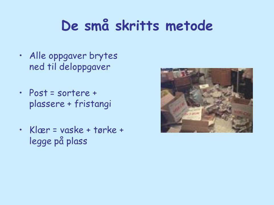 De små skritts metode •Alle oppgaver brytes ned til deloppgaver •Post = sortere + plassere + fristangi •Klær = vaske + tørke + legge på plass