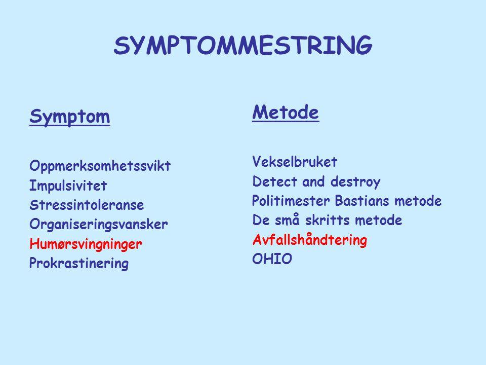SYMPTOMMESTRING Symptom Oppmerksomhetssvikt Impulsivitet Stressintoleranse Organiseringsvansker Humørsvingninger Prokrastinering Metode Vekselbruket D