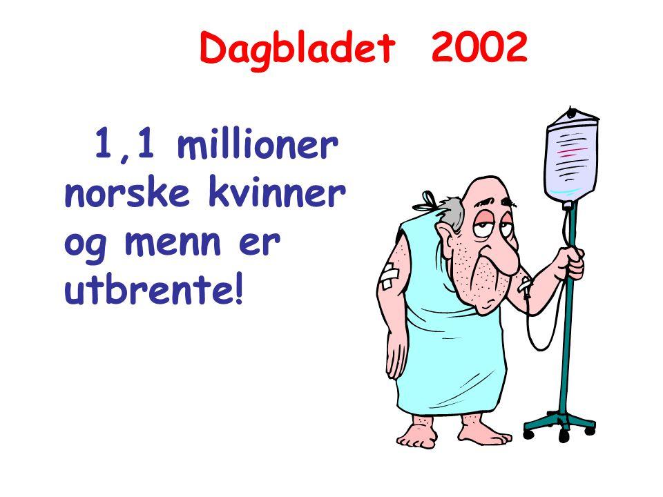 Dagbladet 2002 1,1 millioner norske kvinner og menn er utbrente!