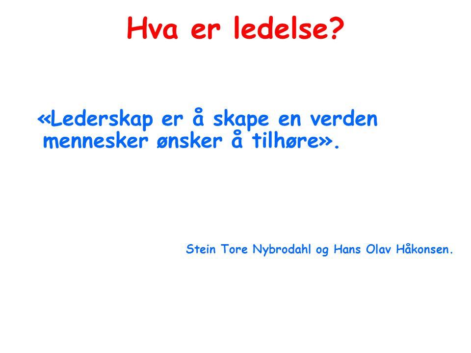 Hva er ledelse? «Lederskap er å skape en verden mennesker ønsker å tilhøre». Stein Tore Nybrodahl og Hans Olav Håkonsen.
