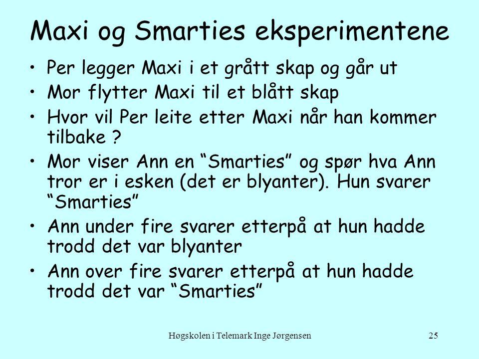 Høgskolen i Telemark Inge Jørgensen25 Maxi og Smarties eksperimentene •Per legger Maxi i et grått skap og går ut •Mor flytter Maxi til et blått skap •Hvor vil Per leite etter Maxi når han kommer tilbake .