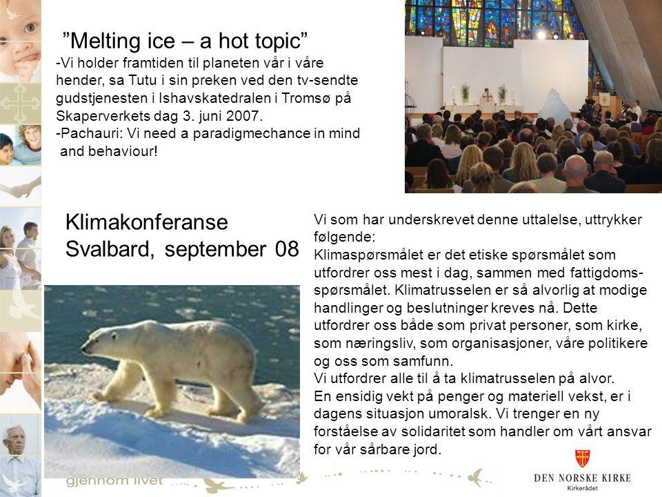 -Vi holder framtiden til planeten vår i våre hender, sa Tutu i sin preken ved den tv-sendte gudstjenesten i Ishavskatedralen i Tromsø på Skaperverkets