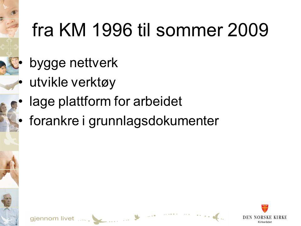 fra KM 1996 til sommer 2009 •bygge nettverk •utvikle verktøy •lage plattform for arbeidet •forankre i grunnlagsdokumenter