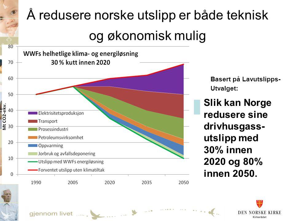 Å redusere norske utslipp er både teknisk og økonomisk mulig Slik kan Norge redusere sine drivhusgass- utslipp med 30% innen 2020 og 80% innen 2050. B