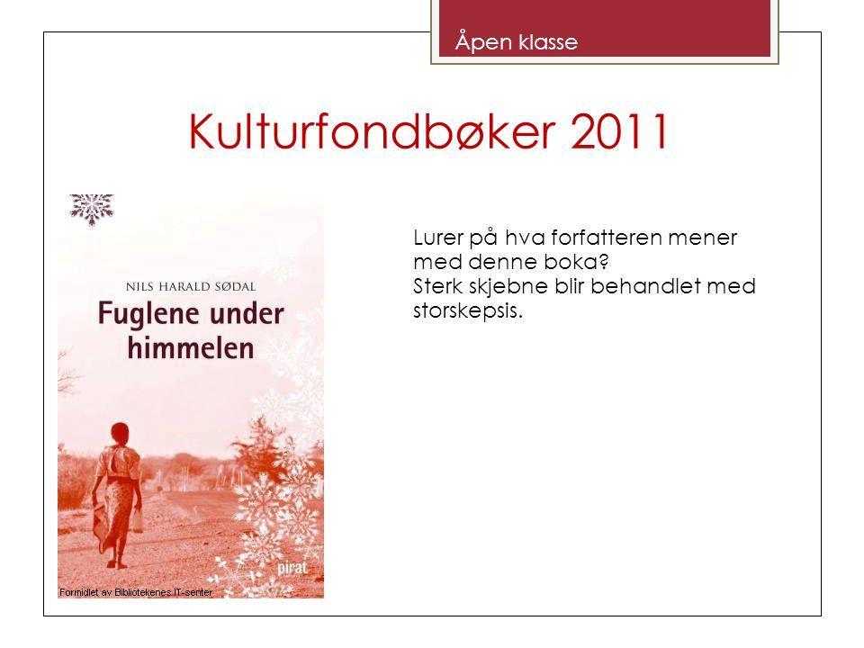 Kulturfondbøker 2011 Åpen klasse Lurer på hva forfatteren mener med denne boka.