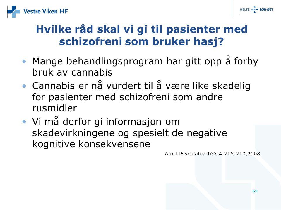 63 Hvilke råd skal vi gi til pasienter med schizofreni som bruker hasj.