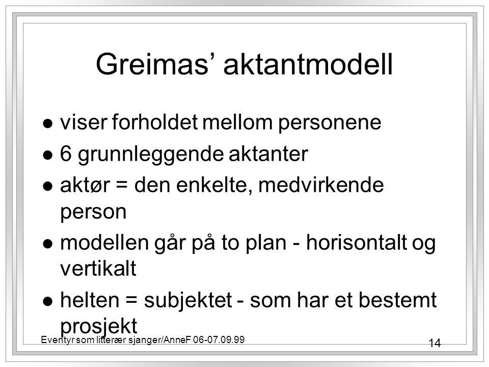 14 Eventyr som litterær sjanger/AnneF 06-07.09.99 Greimas' aktantmodell l viser forholdet mellom personene l 6 grunnleggende aktanter l aktør = den enkelte, medvirkende person l modellen går på to plan - horisontalt og vertikalt l helten = subjektet - som har et bestemt prosjekt
