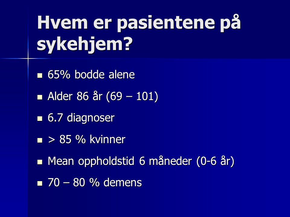 Vår fremtid – de neste 50 år  25 – 30 % er pensjonister  70 % blir helt avhengig av pleie og behandling de siste måneder/ år  10 – 20% dør plutselig (ønskedrømmen)  Demens: 2011: 2% – 2040 > 4%  80-åringer: 20%, - 90-åringer: 50%, 95-år< 10%  40% kommer på sykehjem, kvinner > 60%