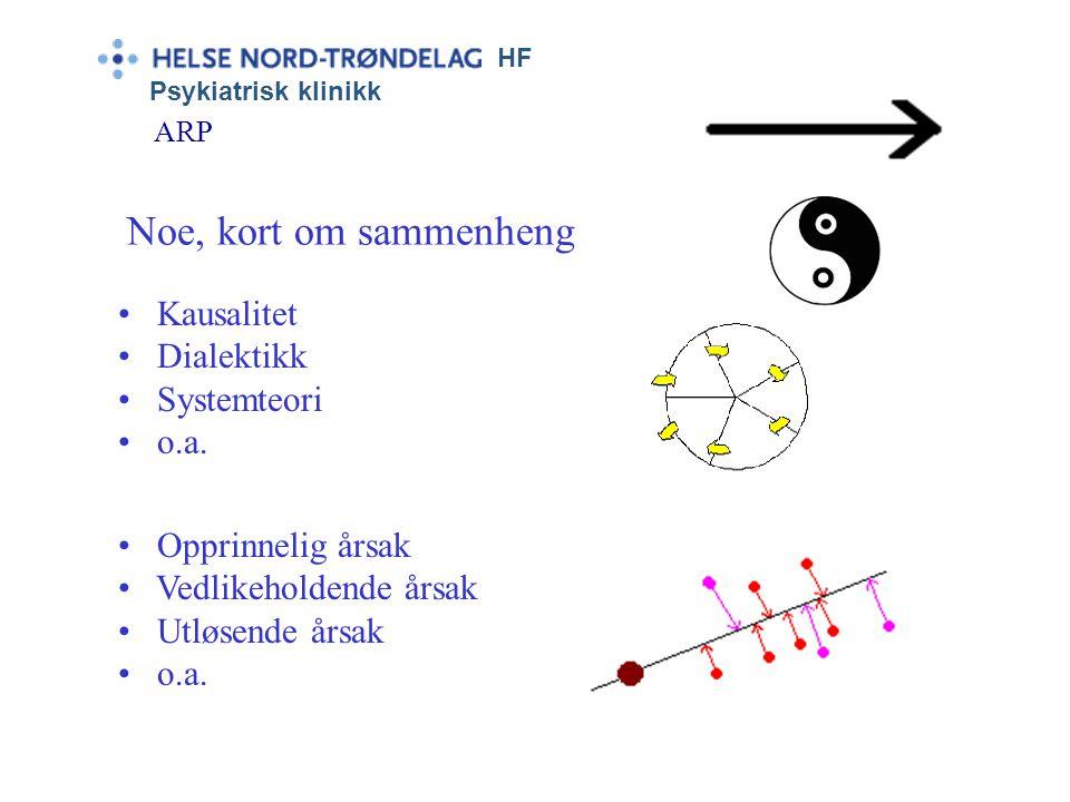HF Psykiatrisk klinikk ARP • Kausalitet • Dialektikk • Systemteori • o.a. Noe, kort om sammenheng