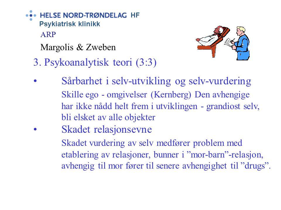 HF Psykiatrisk klinikk ARP Margolis & Zweben 3. Psykoanalytisk teori (2:3) •Affekt-toleranse alexitymi – kontakt – følelser - uttrykk • Mangelfull sel