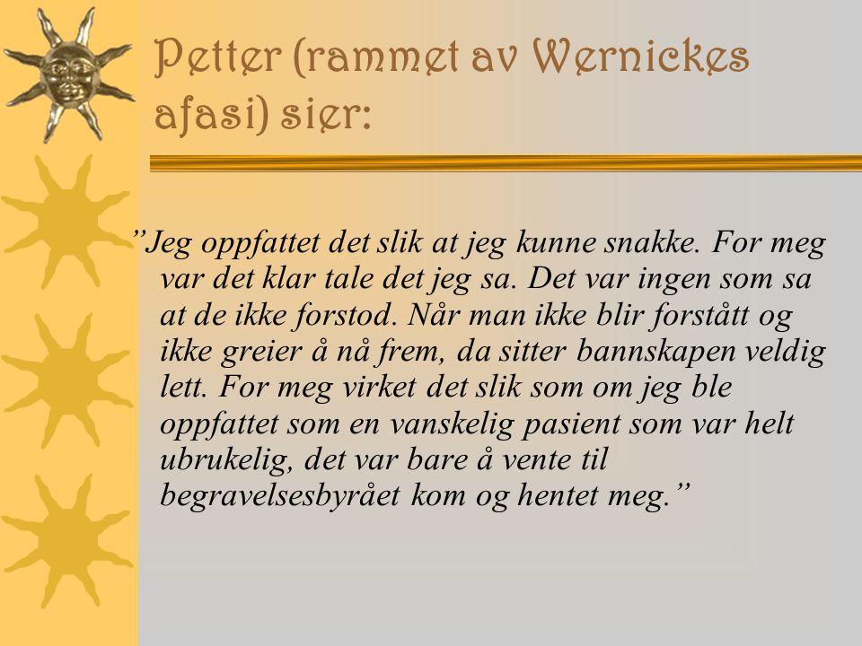 Petter (rammet av Wernickes afasi) sier: Jeg oppfattet det slik at jeg kunne snakke.