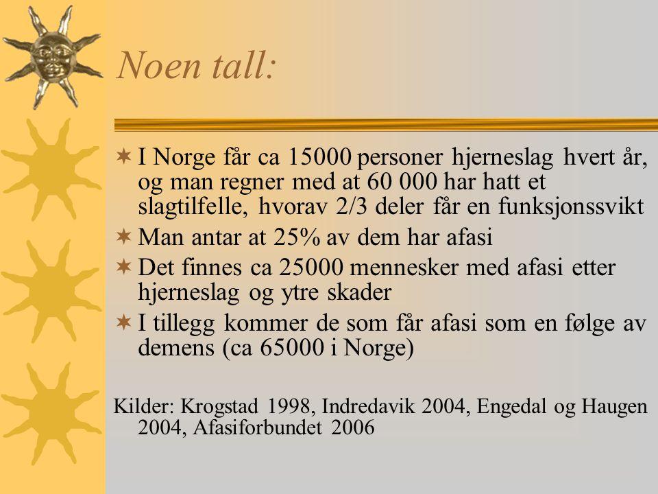 Noen tall:  I Norge får ca 15000 personer hjerneslag hvert år, og man regner med at 60 000 har hatt et slagtilfelle, hvorav 2/3 deler får en funksjonssvikt  Man antar at 25% av dem har afasi  Det finnes ca 25000 mennesker med afasi etter hjerneslag og ytre skader  I tillegg kommer de som får afasi som en følge av demens (ca 65000 i Norge) Kilder: Krogstad 1998, Indredavik 2004, Engedal og Haugen 2004, Afasiforbundet 2006