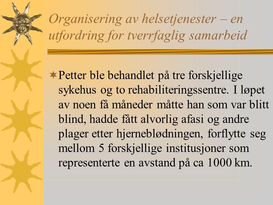 Organisering av helsetjenester – en utfordring for tverrfaglig samarbeid  Petter ble behandlet på tre forskjellige sykehus og to rehabiliteringssentre.