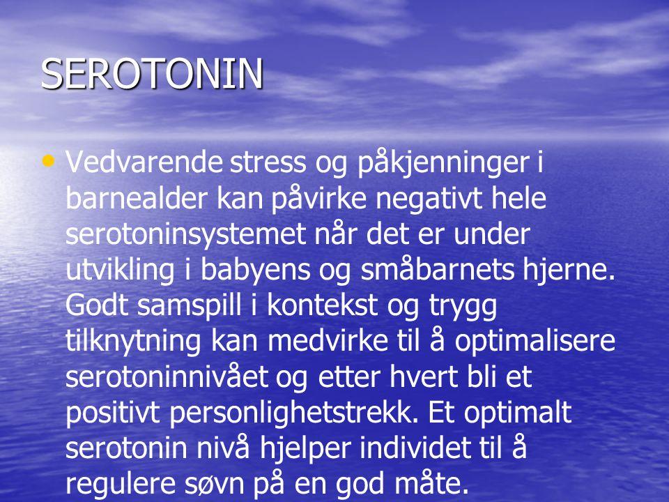 SEROTONIN • • Vedvarende stress og påkjenninger i barnealder kan påvirke negativt hele serotoninsystemet når det er under utvikling i babyens og småbarnets hjerne.