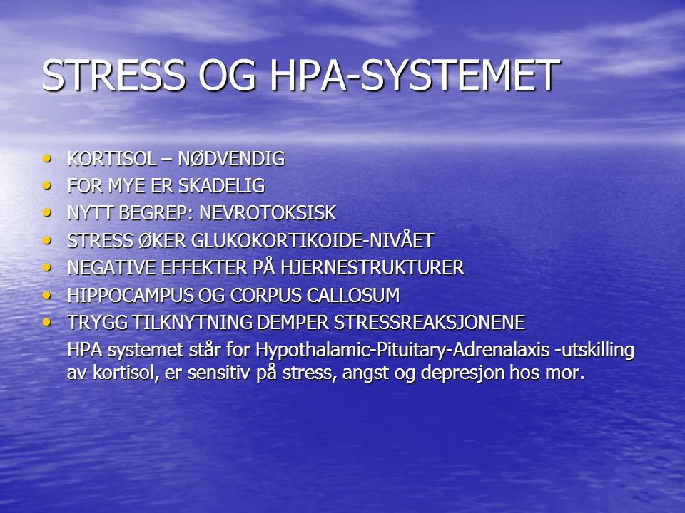 STRESS OG HPA-SYSTEMET • KORTISOL – NØDVENDIG • FOR MYE ER SKADELIG • NYTT BEGREP: NEVROTOKSISK • STRESS ØKER GLUKOKORTIKOIDE-NIVÅET • NEGATIVE EFFEKTER PÅ HJERNESTRUKTURER • HIPPOCAMPUS OG CORPUS CALLOSUM • TRYGG TILKNYTNING DEMPER STRESSREAKSJONENE HPA systemet står for Hypothalamic-Pituitary-Adrenalaxis -utskilling av kortisol, er sensitiv på stress, angst og depresjon hos mor.
