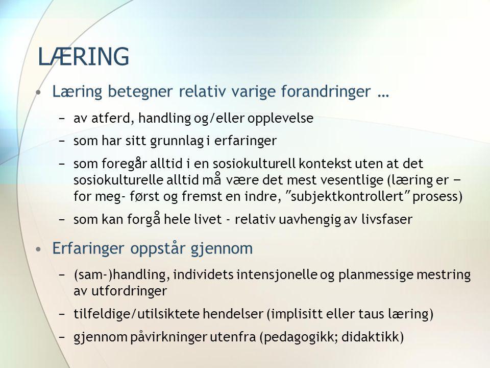 LÆRING •Læring betegner relativ varige forandringer … −av atferd, handling og/eller opplevelse −som har sitt grunnlag i erfaringer −som foreg å r allt