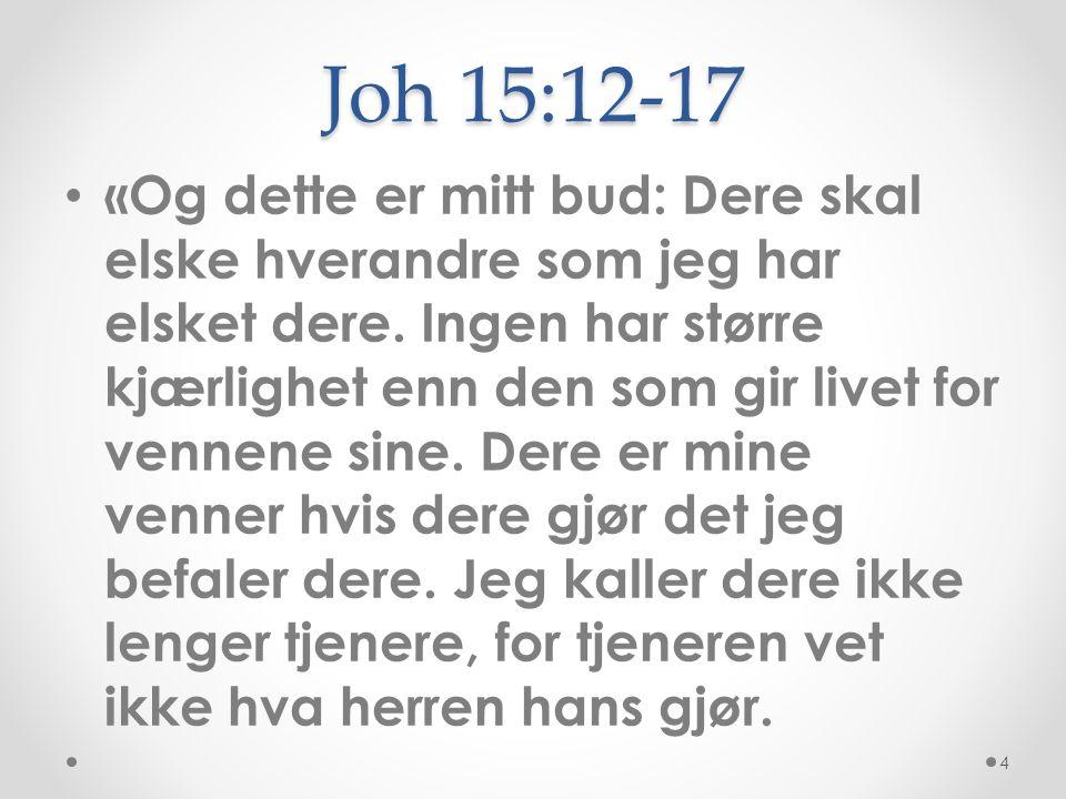 Joh 15:12-17 • «Og dette er mitt bud: Dere skal elske hverandre som jeg har elsket dere. Ingen har større kjærlighet enn den som gir livet for vennene