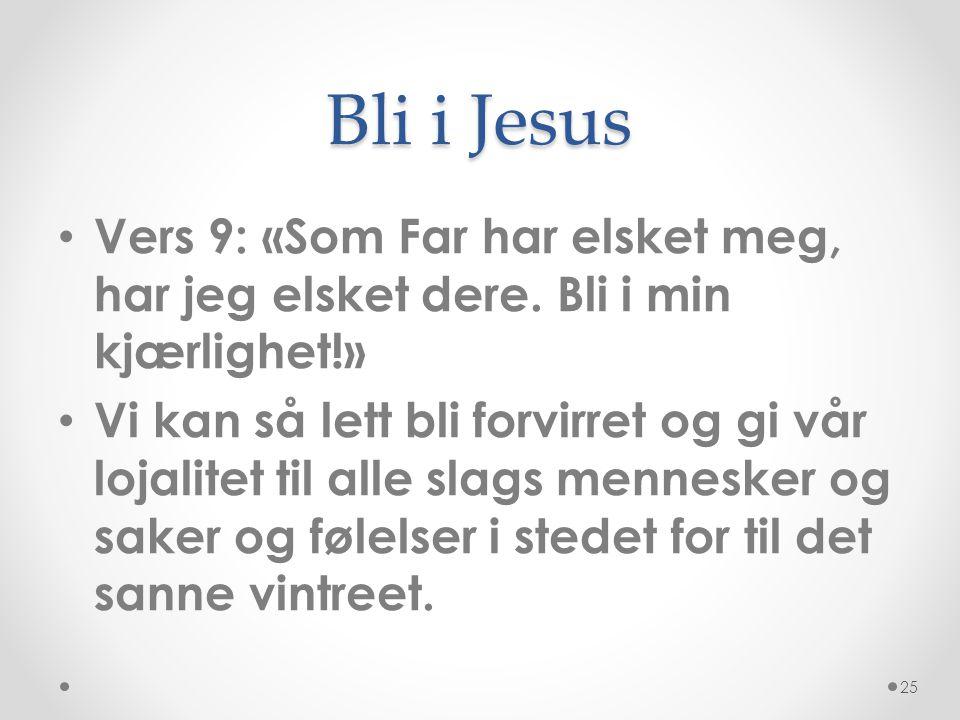 Bli i Jesus • Vers 9: «Som Far har elsket meg, har jeg elsket dere. Bli i min kjærlighet!» • Vi kan så lett bli forvirret og gi vår lojalitet til alle