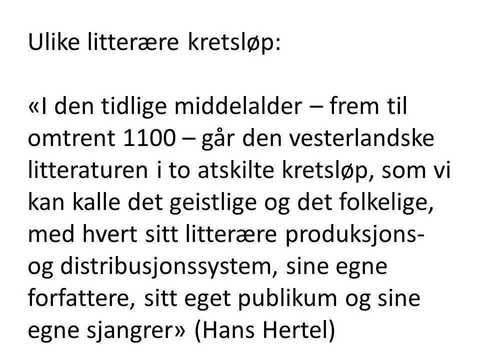 Ulike litterære kretsløp: «I den tidlige middelalder – frem til omtrent 1100 – går den vesterlandske litteraturen i to atskilte kretsløp, som vi kan k