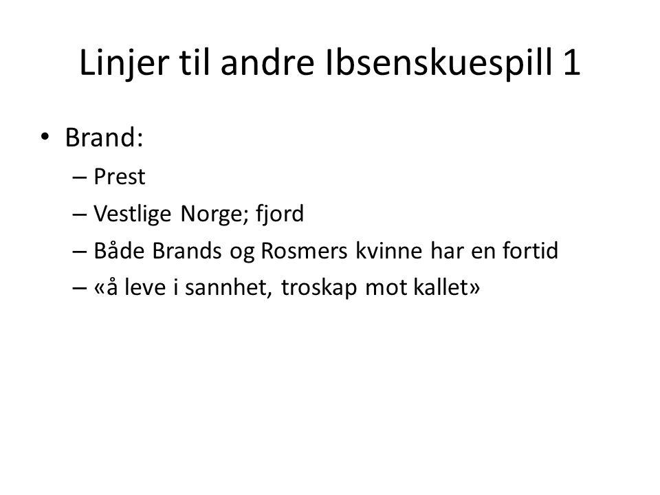 Linjer til andre Ibsenskuespill 1 • Brand: – Prest – Vestlige Norge; fjord – Både Brands og Rosmers kvinne har en fortid – «å leve i sannhet, troskap mot kallet»