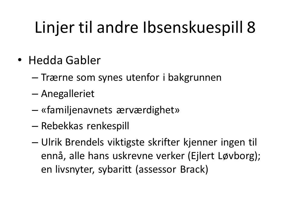 Linjer til andre Ibsenskuespill 8 • Hedda Gabler – Trærne som synes utenfor i bakgrunnen – Anegalleriet – «familjenavnets ærværdighet» – Rebekkas renk