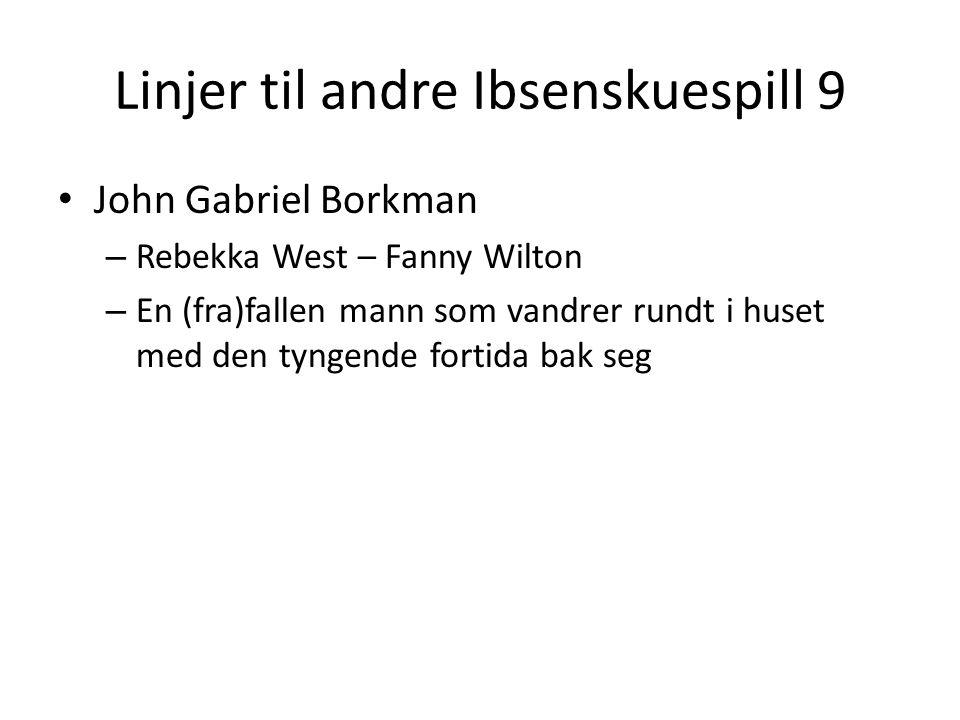 Linjer til andre Ibsenskuespill 9 • John Gabriel Borkman – Rebekka West – Fanny Wilton – En (fra)fallen mann som vandrer rundt i huset med den tyngende fortida bak seg