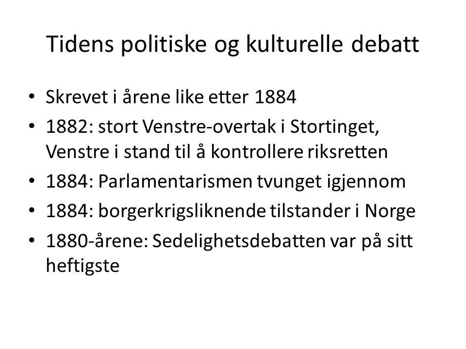 Tidens politiske og kulturelle debatt • Skrevet i årene like etter 1884 • 1882: stort Venstre-overtak i Stortinget, Venstre i stand til å kontrollere
