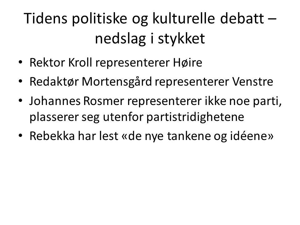 Tidens politiske og kulturelle debatt – nedslag i stykket • Rektor Kroll representerer Høire • Redaktør Mortensgård representerer Venstre • Johannes R